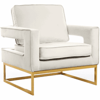 Meridian Furniture Noah Velvet Accent Chair Gold Stainless Steel Base with Cream