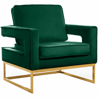 Meridian Furniture Noah Velvet Accent Chair Gold Stainless Steel Base with Green