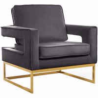 Meridian Furniture Noah Velvet Accent Chair Gold Stainless Steel Base with Grey