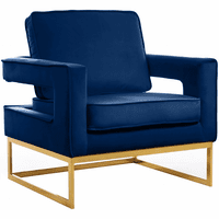 Meridian Furniture Noah Velvet Accent Chair Gold Stainless Steel Base with Navy