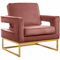 Meridian Furniture Noah Velvet Accent Chair Gold Stainless Steel Base with Pink