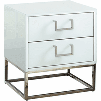 Meridian Furniture Nova Side Table Rich Chrome Stainless Steel Base with White Glass
