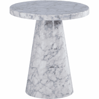 """Meridian Furniture Omni 20"""" End Table White Faux Marble"""