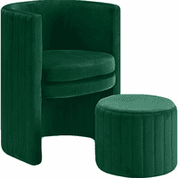Meridian Furniture Selena Velvet Accent Chair and Ottoman Set Green