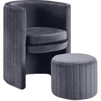 Meridian Furniture Selena Velvet Accent Chair and Ottoman Set Grey