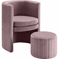 Meridian Furniture Selena Velvet Accent Chair and Ottoman Set Pink