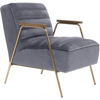 Meridian Furniture Woodford Velvet Accent Chair Grey