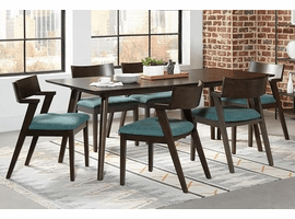 Mid Century Modern Scandinavian Dining Table & 4 Dining Chairs  Teal Or Brown