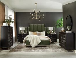 COASTER 222821Q DARK MOSS UPHOLSTERED QUEEN BED