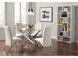 Modern Glass & Chrome  Dining Table & 4 White Chairs