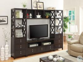 Modern TV Wall Unit In Cappuccino