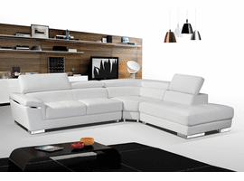Modern White Leather Sectional Sofa with Chrome accents