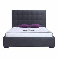 Moe's Home Furniture Belle Storage Bed King Charcoal Fabric