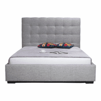 Moe's Home Furniture Belle Storage Bed King Light Grey Fabric