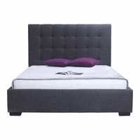 Moe's Home Furniture Belle Storage Bed Queen Charcoal Fabric