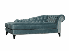 Moe's Home Furniture Bibiano Chaise Velvet Blue