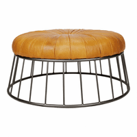 Moe's Home Furniture Radcliffe Leather Ottoman Yellow