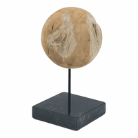Moe's Home Furniture Round Teak Ball On Black Marble Base Large
