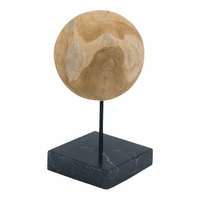 Moe's Home Furniture Round Teak Ball On Black Marble Base Medium