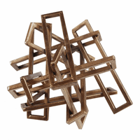 Moe's Home Furniture Tangled Rectangles Sculpture Gold Small