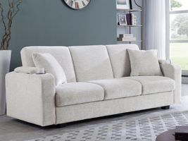 Off white/Sand and Charcoal Fabric Sofa Bed 360116/7/8