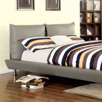 PALTO BED QUEEN GREY BONDED LEATHER CM7704