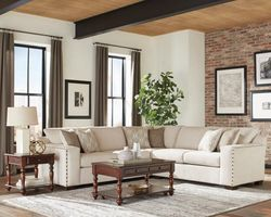 Aria Sectional Sofa  in Oatmeal Chenille Fabric