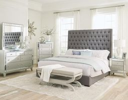 COASTER 300621Q-S4 QUEEN GREY FABRIC BED WITH MIRRORED DRESSER, NIGHT STAND AND MIRROR