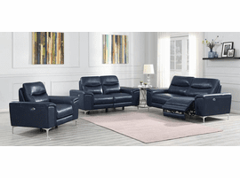 POWER SOFA TOP GRAIN LEATHER BLUE OR WHITE CO-603391P