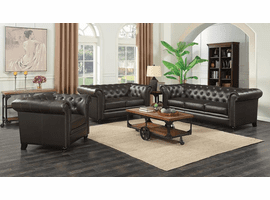 Roy Brown Leather  Living Room Set