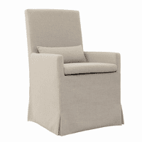 Sandspur Beach Arm Dining Chair With Casters - Brushed Linen