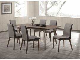 Scan Style Extendable Natural Walnut  Dining Table & 4 Dining Grey Chairs