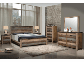 Sembene  Rustic Antique Multicolor Queen Panel Bedroom Set