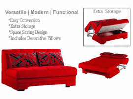 Twist Story Red Loveseat Sleeper by Sunset