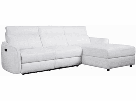White Power Reclining Sectional Leather  Sofa