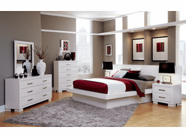 White Queen Platform Bed Set