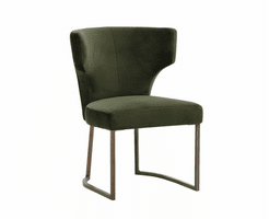 Yorkville Dining Chair - Antique Brass - Green Fabric