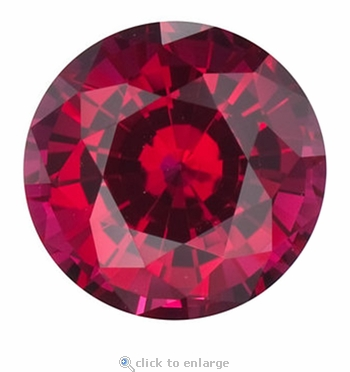 1.25 Carat 7mm Round Ruby Lab Created Synthetic Loose Stone