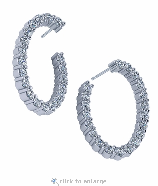 Oval Shaped 1.25 Carat Cubic Zirconia Front Facing Wrap Around Earring Hoops