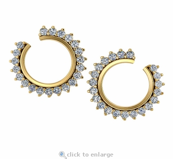 Round Shape 1.25 Front Facing Carat Cubic Zirconia Wrap Around Prong Set Earring Hoops