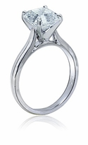 1.5 Carat Asscher Cut Cubic Zirconia Cathedral Solitaire Engagement Ring