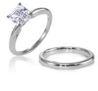 1.5 Carat Asscher Cut Cubic Zirconia Classic Solitaire Engagement Ring with Matching Band Wedding Set