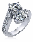 1.5 Carat Cubic Zirconia Bypass Two Stone Round Engagement Ring