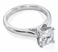 1.5 Carat Cushion Cut Square Cubic Zirconia Cathedral Solitaire Engagement Ring