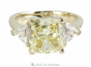 1.5 Carat Cushion Cut with Trillions Three Stone Cubic Zirconia Engagement Ring