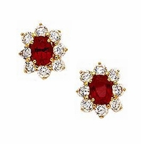 1.5 Carat Each Center Oval Cubic Zirconia Cluster Earrings - Medium