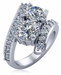 1.5 Carat Each Cubic Zirconia Two Stone Round Bypass Pave Engagement Ring
