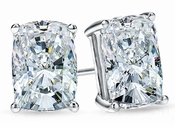 1.5 Carat Each Elongated Cushion Cut Cubic Zirconia 14K White Gold Stud Earrings