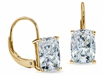 1.5 Carat Each Elongated Cushion Cut Cubic Zirconia Leverback Earrings