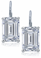 1.5 Carat Each Emerald Step Cut Cubic Zirconia Leverback Earrings